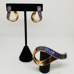 Swarovski clip earring and brooch set